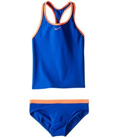Nike Kids has lots of great tankinis and one-pieces for girls wanting a simple, athletic look. You'll find a range of colors from teal and black to blue and orange. Sizes 7-14.