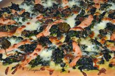 Mi Diversión en la cocina: Pizza de Espinacas Salmón Ahumado y Perlas de Mozarella