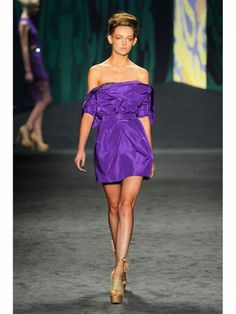 Vera Wang purple off-the-shoulder silk dress shown during Mercedes Benz Fashion Week Spring/Summer 2013 in New York City. #NYFW #models #80s