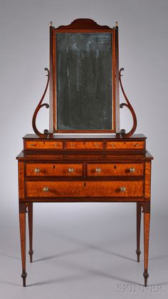 Federa Carved Mahogany And Bird's-Eye Maple Veneer Dressing Chest With Mirror