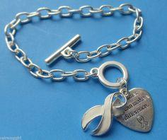 Lung Cancer awareness Charm Bracelet White Ribbon