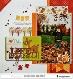 Life is great - Imaginisce - Scrapbook.com - Fall colors, sequins, mist and stitching make a great layout!