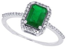 1 10ct Natural Emerald Cut Emerald Ring with Diamond in 10KT White Gold | eBay