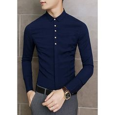$18.12 Fashion Turn-down Collar Button Embellished Solid Color Long Sleeves Men's Slimming Shirt