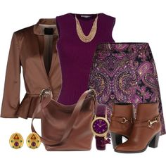 """Purple and Brown Work Outfit for Fall"" by sep120 on Polyvore"