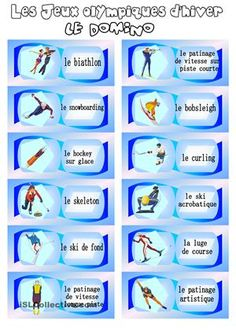 Les Jeux olympiques d'hiver: le domino - Fiches FLE Olympic Games For Kids, Olympic Idea, Bobsleigh, Kids Olympics, Winter Olympics, Language Activities, Literacy Activities, French Practice, Social Studies Projects