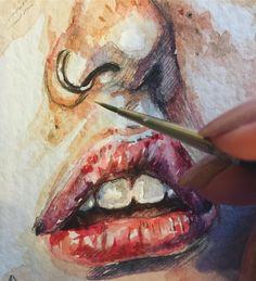 Ещё немного продвинулась #детали #рисунок #живопись #акварель #drawing #proccess #painting #watercolor #lips #процесс