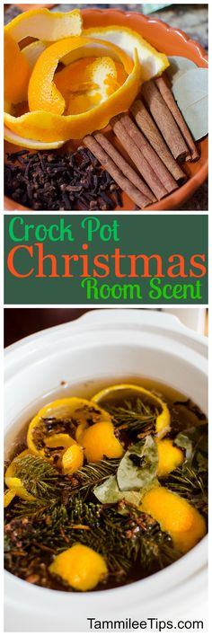 How to make Crock Pot simmering Christmas Potpourri! Use your slow cooker to make sure your house smells great! Perfect for the holidays! Orange Slices, Cloves and more make your home smell amazing.