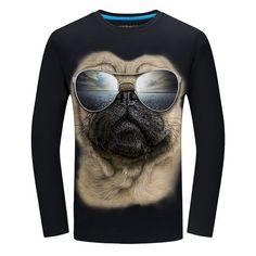 Pizza Pug Funny Pug Mens Long Sleeve Jersey Henley