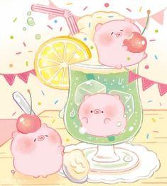 Pig Wallpaper, Kawaii Wallpaper, Mini Drawings, Kawaii Drawings, Kawaii Doodles, Kawaii Art, Cute Food Art, Cute Art, Food Cartoon