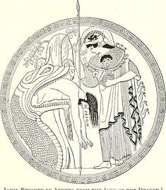 Atenea rescata a Jasón de las fauces del dragón custodio del vellocino de oro. Duris, copa de figuras rojas, 480-470 a.n.e. Museos Vaticanos