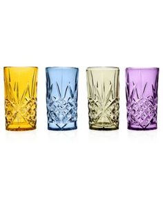 Godinger Glassware, Dublin Colored Set of 4 Assorted Highballs-macys