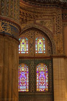 View of the stained glass windows in the Topkapı Palace, Istanbul, Turkey