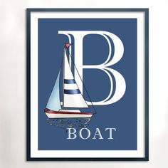 B is for Boat Art Printable, Instant Download