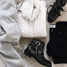 Winter monochrome flat lay | onlinestylist on Instagram |