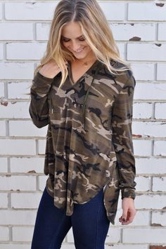 Hooded long sleeve top with all over camo print, scooped front and a longer scooped back. Camo Top, Dottie Couture, Long Tee, Tees For Women, Women Sleeve, Fall Winter Outfits, Jeans, Long Sleeve Tops, Cute Outfits