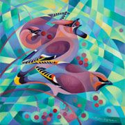 Waxwings Mistletoe, Oil On Canvas, Greeting Cards, Birds, Artists, Abstract, Gallery, Outdoor Decor, Painting