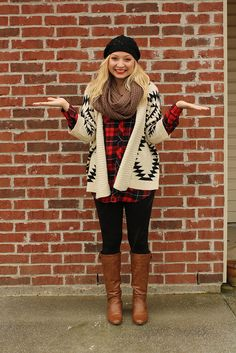 plaid shirt + aztec sweater + big scarf + cognac boots. Goodwillista blog