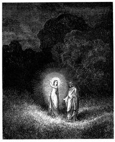 """""""[...] Yo, Beatriz, soy quien te hace caminar; vengo del sitio al que volver deseo; amor me mueve, amor me lleva a hablarte. Cuando vuelva a la presencia de mi Dueño le hablaré bien de ti frecuentemente."""" (Infierno, II, 70-74)"""