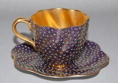 Coalport Gold Gilt & Cobalt Blue Porcelain Cup & Saucer w Turquoise Jewels