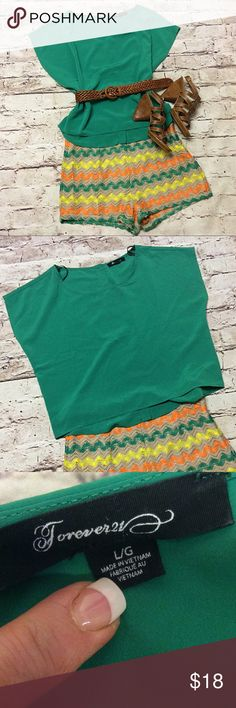 "❌LAST CHANCE❌FOREVER 21 KELLY GREEN TOP Pretty Kelly green blouse in a hi/lo style.  Gently used. Measurements lying flat Armpit to armpit 21"" length 21""/22"". Belt not included. Sandals for sale in a separate listing Forever 21 Tops Blouses"