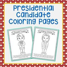 FREEBIE! Presidential candidates coloring pages with short biography. Donald Trump, Hillary Clinton, Republican, Democratic, Nominee, Election 2016, Vote.