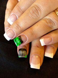 Frankenstein and vampire nail art