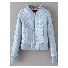 Blue Zipper Quilted Diamond PU Jacket ($46) ❤ liked on Polyvore featuring outerwear, jackets, diamond quilted jacket, quilted jacket, zip jacket, polyurethane jacket and zipper jacket