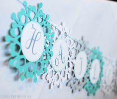 Winter Wonderland snowflake banner closeup