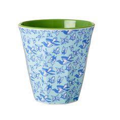 NEW .. RICE MELAMINE Pattern Birds & Butterflies Cup - RICE Melamine Cups