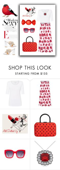 """""""Red White"""" by sukia ❤ liked on Polyvore featuring Majestic Filatures, Alice + Olivia and Allurez"""