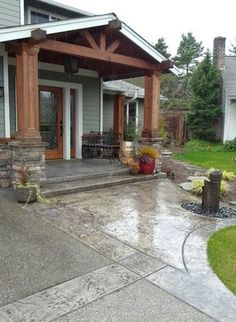 Stamped concrete with exposed aggregate Stamped Concrete Patterns, Stamped Concrete Driveway, Concrete Porch, Concrete Driveways, Walkways, Back Patio, Backyard Patio, Curved Patio, Exposed Aggregate