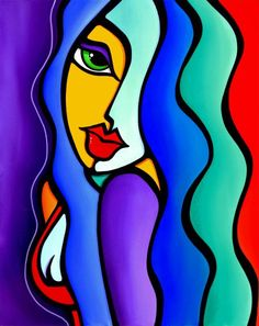Mrs Brightside - Original Abstract painting Modern pop portrait Art by Fidostudio