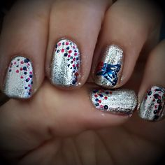 Diy New England Patriots nail art manicure because we're in the playoffs :)
