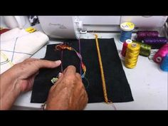 Weaving trim into flatlock stitch - awesome idea for using serger stitches in a decorative way! Juki Serger, Serger Sewing, Sewing Hacks, Sewing Tutorials, Sewing Patterns, Sewing Tips, Serger Projects, Sewing Projects, Serger Stitches