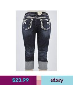 Jeans La Idol Capri Jeans Cuffed Rhinestone White Stitching Leaf Embelish Cropped #ebay #Fashion