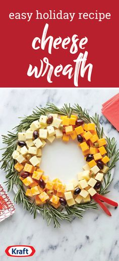 Easy Cheese Wreath — Arrange a variety of delicious, creamy cheese cubes in a circle, add olives, and you've got yourself a simple and elegant appetizer recipe. This is one festive appetizer you might not be able to throw your holiday party without! Christmas Dinner Menu, Christmas Appetizers, Christmas Cooking, Christmas Cheese, Elegant Appetizers, Appetizers For Party, Appetizer Recipes, Christmas Class Treats, Christmas Snacks