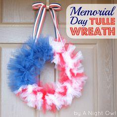 A Memorial Day Tulle Flag Wreath
