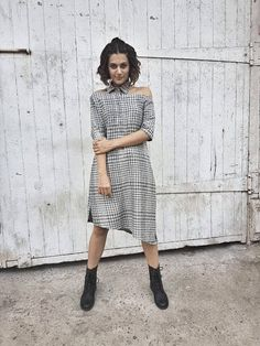 Taapsee pannu looking chic in a blueprint dress for the promotions taapsee pannu looking chic in a blueprint dress designer malvernweather
