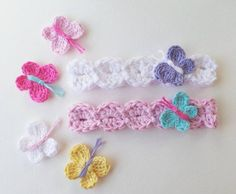 butterfly motif knitted headband model for new babies dopen