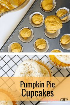 These Pumpkin Cupcakes - A Sweet Fall Treat and easy dessert made with store bought cake mix are a great treat to have after dinner or to bring to your Thanksgiving festivities. Since they only require a few ingredients, they are also super easy to make because sometimes I'd rather spend more time enjoying than I want to baking and cleaning. #kenarry #ideasforthehome Cupcake Recipes, Baking Recipes, Pumpkin Pie Cupcakes, Cupcake Calories, Vanilla Cake Mixes, Homemade Frosting, Fall Treats, Fall Desserts, Super Easy