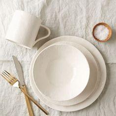 Linen Textured Dinnerware Set - White   west elm