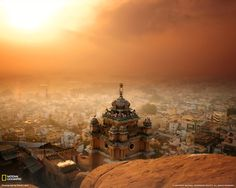 Sunrise over downtown Trichy city, Tamil Nadu, India. TO VISIT