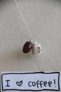 Polymer Clay Coffee Bean and Cup of Cocoa with Marshmallows  Necklace. $10.00, via Etsy.