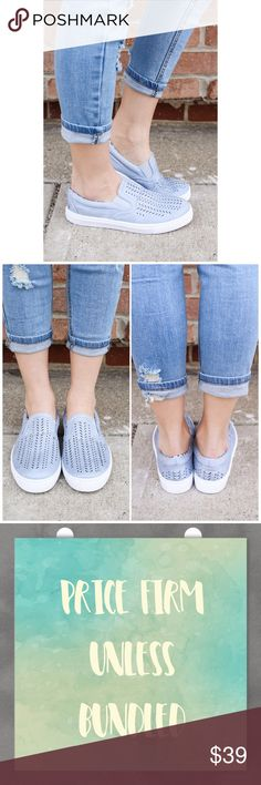 Ash Blue Slip on Sneakers Hey girl, we know you're busy and just want a simple shoe for every day wear. No worries, we got you! Our Slip on Sneakers are a simple pair of distressed, faux leather, slip on sneakers with perforated accent and rubber sole. Slip these sneakers on for a quick and easy shoe option before you run out the door! Available in white too!  PRICE FIRM unless bundled  Bundle 3+ items and Save 15%! Fabfindz Shoes Sneakers