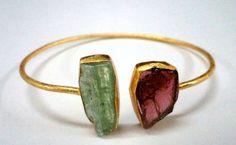 47663 Raw Gemstone Kyanite, Garnet Garnet Sterling Silver Bangle , Handmade Raw Jewelry Bangle 18k gold Vermeil Raw Gemstone Bangle