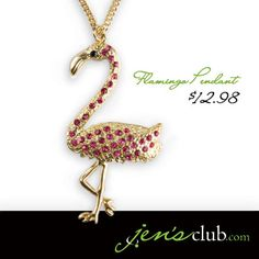 "Flamingo Pendant From Regal      A fun summer necklace! Bright flamingo pendant with pink glass rhinestones measures 2-3/4""H. Gold-tone chain has lobster clasp closure. (34""L plus 3"" extender)  Product Number - JC1016"