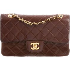 Pre-owned Chanel Classic Small Double Flap Bag ($2,100) ❤ liked on Polyvore featuring bags, handbags, brown, quilted hand bags, quilted purses, flap purse, handbag purse and brown purse