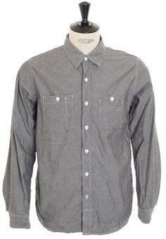 Engineered Garments Work Shirt - Grey Cotton Chambray