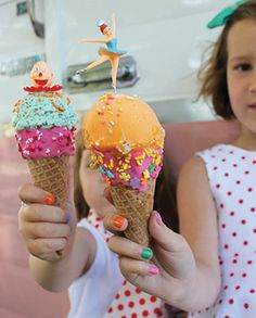 Ice Cream Party Cones - Layer Cake Shop. Dipping the ice cream cones in melted candy melts and sprinkles the day before. To serve, top a scoop of ice cream with sprinkles and a cupcake pick. Great way to use leftover baking supplies.